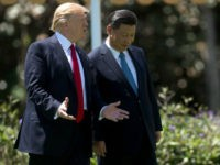 US President Donald Trump (L) and Chinese President Xi Jinping (R) walk together at the Mar-a-Lago estate in West Palm Beach, Florida, April 7, 2017.17. President Donald Trump entered a second day of talks with his Chinese counterpart Xi Jinping on Friday hoping to strike deals on trade and jobs after an overnight show of strength in Syria. / AFP PHOTO / JIM WATSON (Photo credit should read JIM WATSON/AFP/Getty Images)