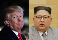 US President Donald Trump, left, has traded barbs via social media with North Korean leader Kim Jong-Un, right
